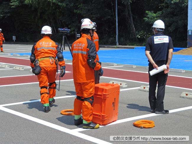 神戸大学の都市安全研究センター(RCUSS)より被災現場をリスク評価などを実施。二次災害に遭わないよう地盤の状況など専門的な見地から救助に向かう隊員をサポート。