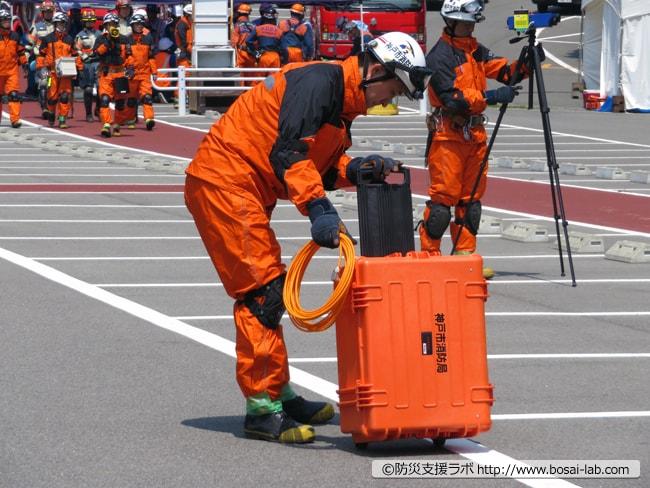 テイセン社製の土砂災害現場での早期警戒用の監視キット。