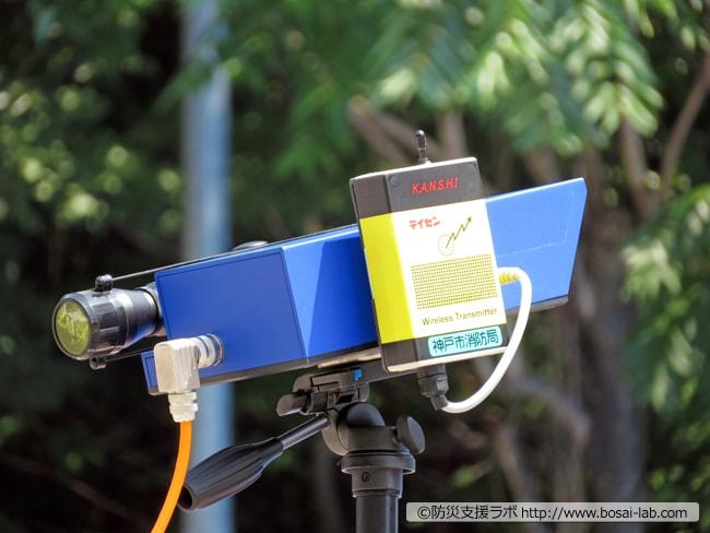 早期警戒用の監視キットのセンサー(レーザーポインターがセットされている)の拡大写真。