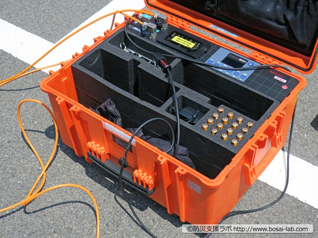 早期警戒用の監視キット本体。この他、警報音を外部スピーカーに飛ばすトランスエミッターなどが用意されていました。
