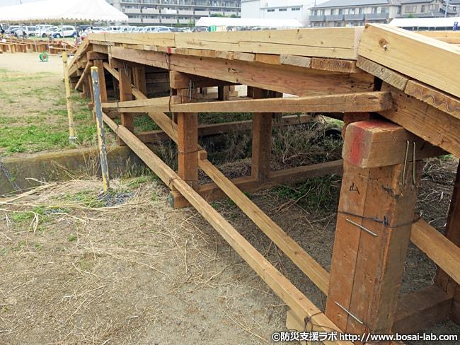 仮設橋には多数の「かすがい」が打ち付けられ、がっちりと固定されていました。