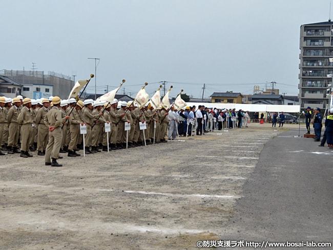 市長や関係機関代表者による講評にて岸和田市総合防災訓練は無事終了しました。
