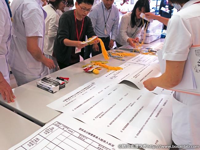 災害対策本部の設置後には役割分担や病院の建物そのものの状況確認を実施のため、各チームの代表者を設定。