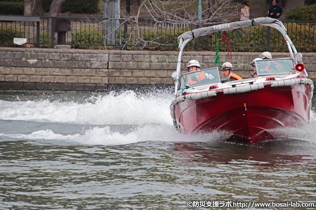 ウォータージェット推進の救助艇「ゆめしま」(ヤマハ AR210)。大阪市消防局のfacebookによれば株式会社コノミヤ様から寄贈されたとのこと。