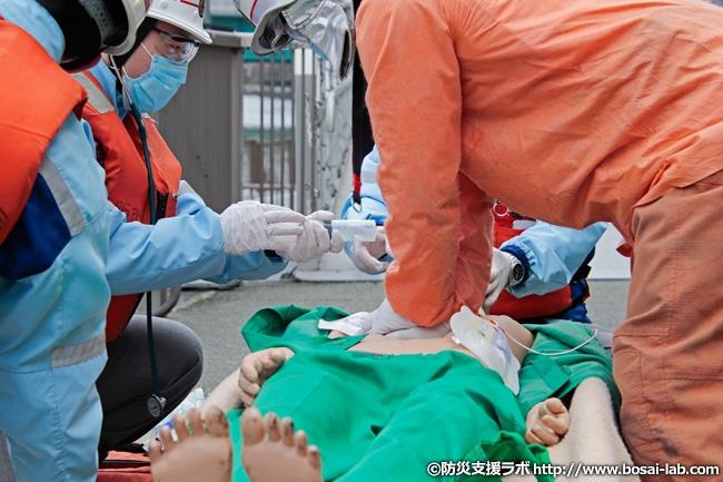 救急隊による各種処置の進行状況。